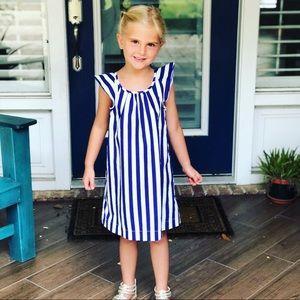 Crew Cuts blue and white striped dress